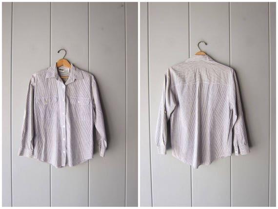 90s Striped Button Up White Blue Oxford Shirt Preppy Cotton Shirt Minimal Casual Vintage Long Sleeve Office Shirt Womens Medium