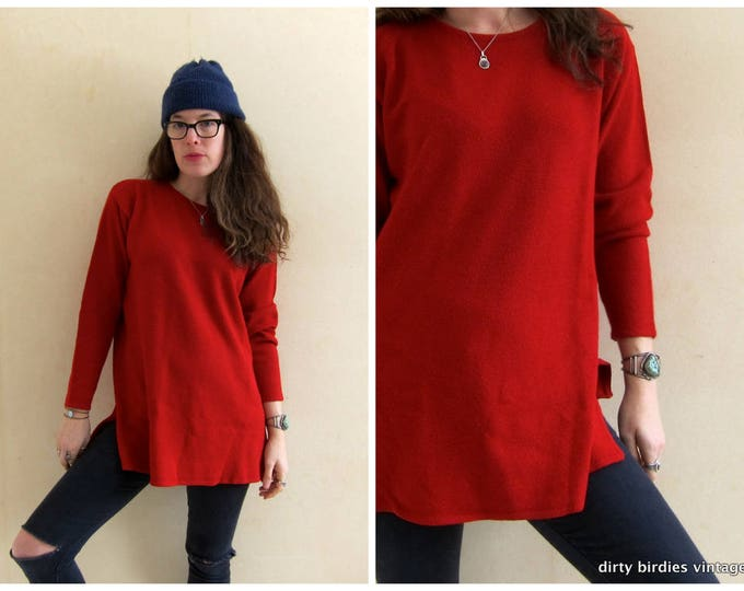 Basic Red Tunic Top | Long Sleeve Knit Shirt | Vintage 90s Thin Sweater | Minimal Oversized Slouchy Knit Top | Valentines Womens Medium