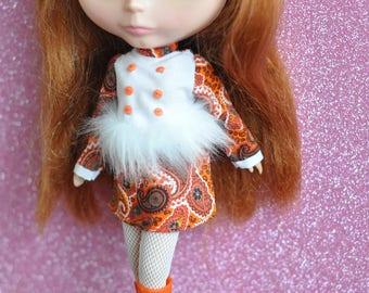 Mod Blythe Faux Fur Dress 8 Orange paisley print dress by maker and muse