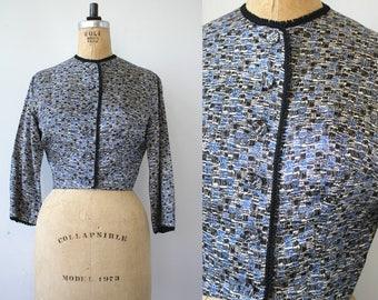 vintage late 1940s satin jacket / 40s suit jacket / 1950s blue and black button blazer / Grosscraft jacket / medium