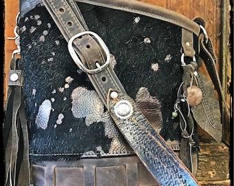 PEWTER purse- acid etched black cowhide
