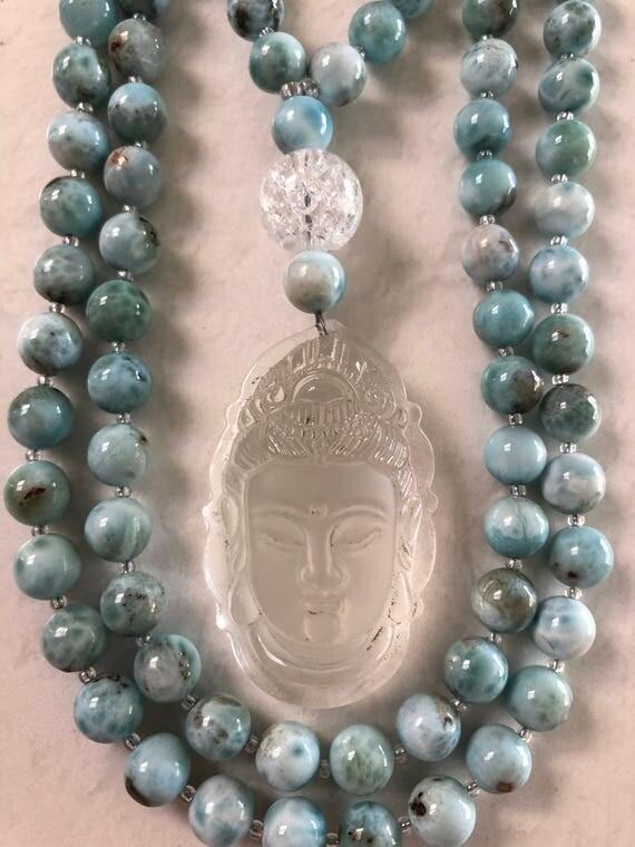 Larimar and RockQuartz Mala/Prayer Beads