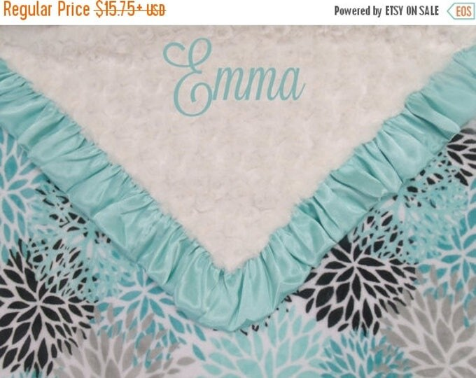SALE Personalized Breeze Teal and Cream Rosebud Swirl Floral Minky Baby Blanket,