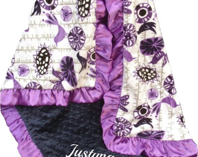 SALE Purple Personalized Baby Girl Blanket, Floral Aviary Design Purple and Navy Minky Baby Blanket, Lavender Swaddle Blanket