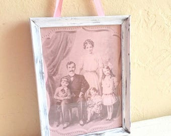 One of a Kind Pretty Pink and White Shabby Chic Wall Hanging 5x7 Inches with glass