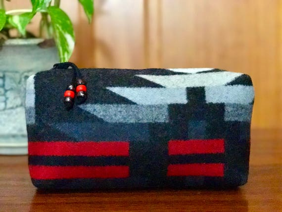 Cosmetic Bag / Makeup Bag / Zippered Pouch Large Wool Black & Red