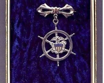 Orig 1940s WW II Sterling Silver Nautical Wheel Pin MIB