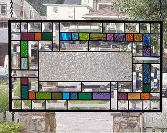 SIMPLE LINES of ELEGANCE Stained Glass Window Panel (Signed and Dated)