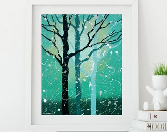 Abstract Tree Print, Living Room Art, Turquoise Wall Decor, Contemporary  Modern Art Woodland