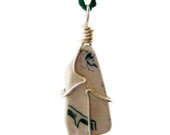 Irish Sea Pottery Pendant, Green. Dolphin's Kiss