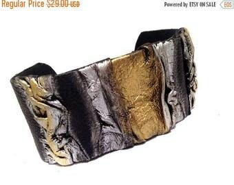40% OFF SALE Wide statement leather bracelet  Cuff bracelet Leather jewelry Wide fashion wristband leather jewelry