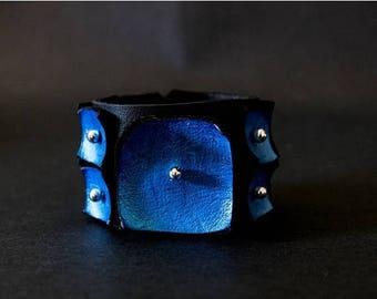 40% OFF SALE Metallic blue wide women leather bracelet cuff wristband Geometric Jewelry