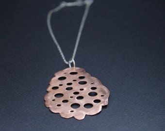 Large Copper Amoeba Pendant Necklace