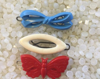 Vintage barrette, teeny tiny ,red butterfly, blue bow, white cats eye, vintage children barrette