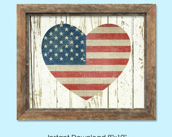 July 4th decoration American flag printable instant download patriotic printable American wall art rustic flag print 4th of July printable