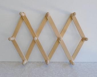 accordion coat or hat rack, vintage folding coat rack, foldable wood rack, natural wood, multi hook, wall rack, montessori classroom, modern