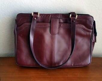 Burgundy Leather Shoulder Bag by TANO