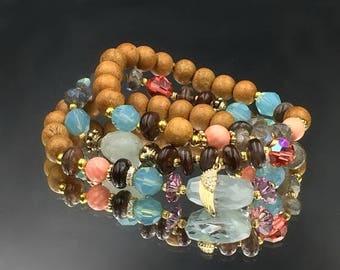 30% SALE Colorful Stack Bracelets Multicolor Stretchy Bracelets Peruvian Opal Aquamarine Labradorite Layer Bracelet Boho Bracelets Trendy Bo
