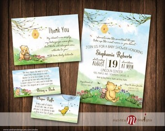 Classic Winnie the Pooh Baby Shower, Birthday, Invite, Insert cards, Bring a Book, Thank you card, Favor Tags, Games