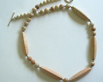 Pinkish Tan Web Brown Jasper Gemstone Choker Necklace by Carol Wilson of Je t'Adorn