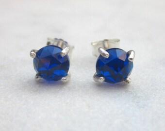 Blue sapphire stud earrings, small gemstone earrings, sterling silver claw stone studs, minimal prong blue gem earrings, lab created gems