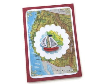 Sale card Vintage Map Atlas Card,Paper Quilling Boat Card, Paper Quilled Red Boat, Male Birthday, Fisherman, USA, San Francisco,Los Angeles