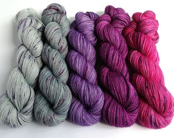 Hand dyed yarn set, 5 skeins dyed to order, custom sets, shawl knitting, sweater knitting, jumper knitting, gradient, sock or sparkle yarn