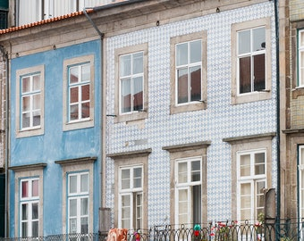 Portugal Photography, Balcony Views on Porto, Architecture of Porto, blues of Portugal, green wall art, portugal windows in Pink and Red