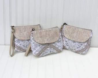 Small Waxed Canvas, Linen & Leather Bridesmaid Gifts, Bridesmaid Clutches, Wristlets