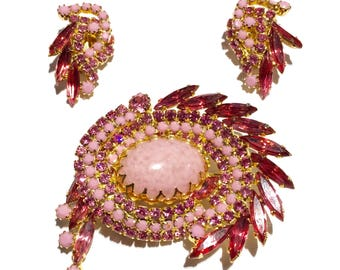 Stunning rare delizza and elser, juliana  pink rhinesone demi paraure //milk glass// brooch and earrings//designer