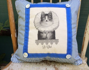 Cat Pillow, Cat in Ruffle Collar Pillow|French Country | Farmhouse Decor | Linen Print | Handmade Cat throw pillow | Elizabethan Collar