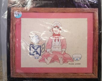 Country Cross Stitch Kit Alice's Tea Party Rag Doll
