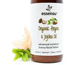 Organic Argan and Jojoba Oil Silk Protein Crystal Infused Face Lotion | Restore Suppleness Sensitive , Normal , Dry , Combo Skin Vegan 4 oz