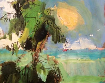 Tropical Painting, ocean and sea expressionist art with sailboat, sun, palm trees and beach