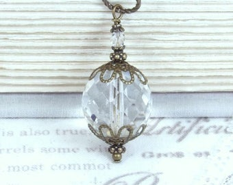 Glass Bead Pendant Necklace Clear Glass Necklace Large Glass Pendant Necklace Vintage Style Necklace