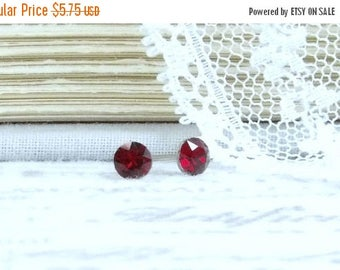 Small Red Earrings 4mm Studs Red Crystal Studs Tiny Stud Earrings Red Studs Surgical Steel Studs