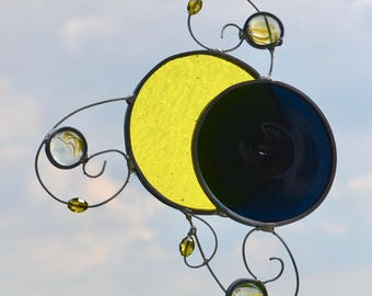 Total Solar Eclipse Stained Glass Suncatcher  Moon Sun celestial