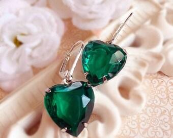 SALE 20% Off Romantic Jewelry Gift - Emerald - Heart Earrings - Green - HEARTSONG Emerald