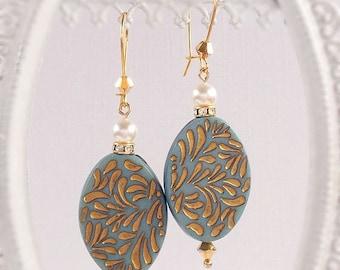 SALE 20% Off Bohemian Earrings - Blue - Summer Earrings - Dangle - RETRO BOHO Blue