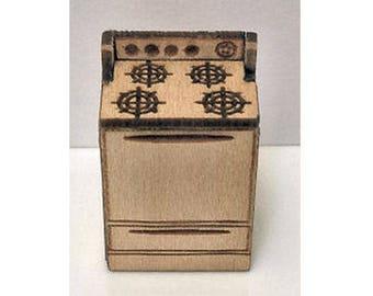 Quarter Inch Scale Stove Dollhouse Furniture Kit.