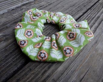Hair Scrunchie: Green and Orange Floral