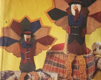 The Cotton Way Collection Simplicity Crafts 7341 Seated Felt Turkey Pattern Fall Thanksgiving Home Decorations 10 inch or 12 inch Turkey