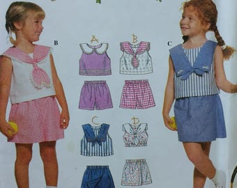 Camp Simplicity Pattern Girls Top and Shorts Pattern Sailor Style Top Nautical Style Simplicity 7094 Girls size 5 6 6x