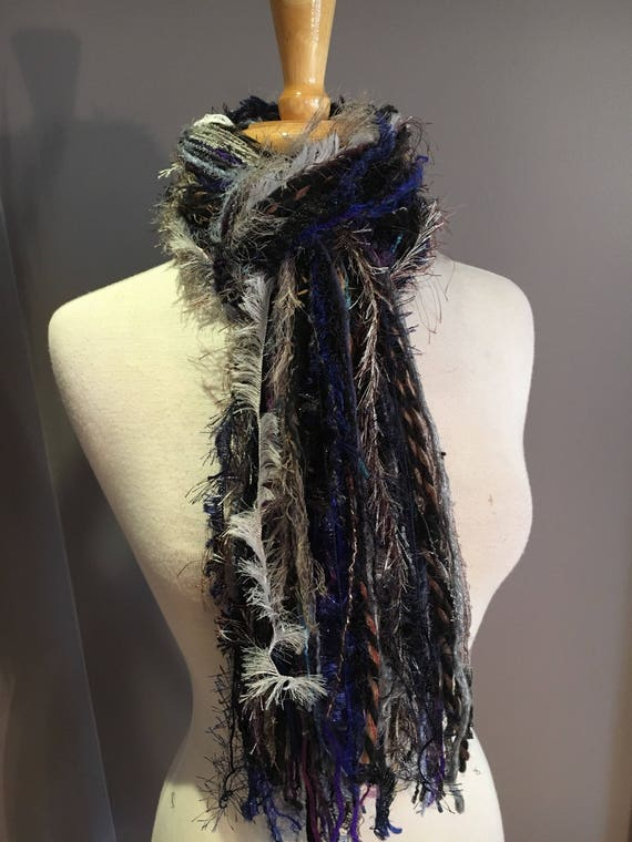 Fringie Scarf, Storm Clouds, handmade Scarf, blue taupe black purple fringe scarf, boho fashion, accessories, funky scarves, artsy scarf