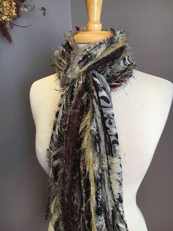 Fringie in Jungle Cheetah, Handmade tied scarf, art yarn, fringe scarves, boho gifts, mustard black taupe, funky
