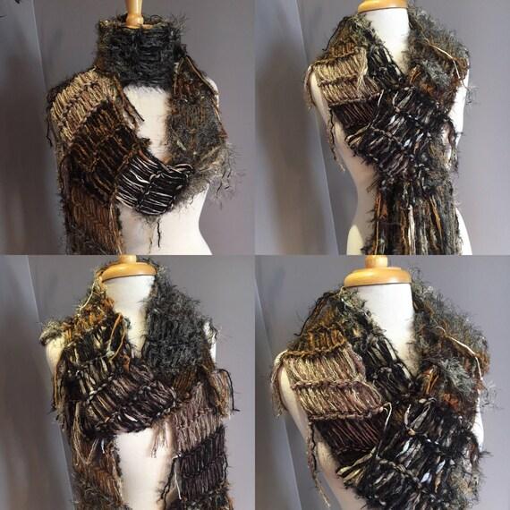 "Fringed soft knit scarf, ""Archives"", Soft Knit Scarf, Black tan scarves, fringe fashion scarf, art scarf, fashion, bohemian, wearable art"