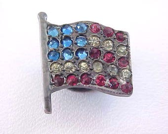 RARE Flag Stud Button Sterling Silver Paste Victorian USA United States of America