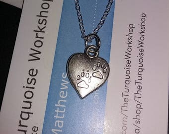 Silver HEART Pet Dog Paw print Charm Necklace