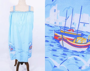 1970s sailboat dress | light blue novelty print sun dress | vintage 70s dress | W 47""