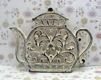 Teapot Cast Iron Trivet Hot Plate OFF White Shabby Chic Kitchen Decor